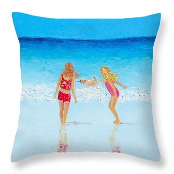 Beach Painting Beach Play Throw Pillow