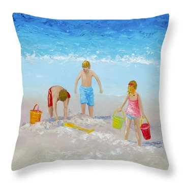 Beach Painting - Sandcastles Throw Pillow