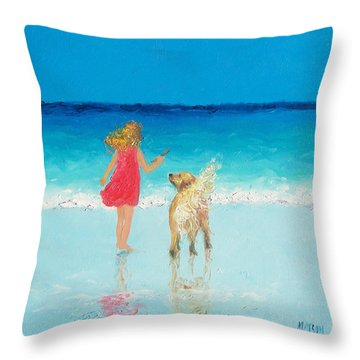 Beach Painting 'sunkissed Hair'  Throw Pillow by Jan Matson