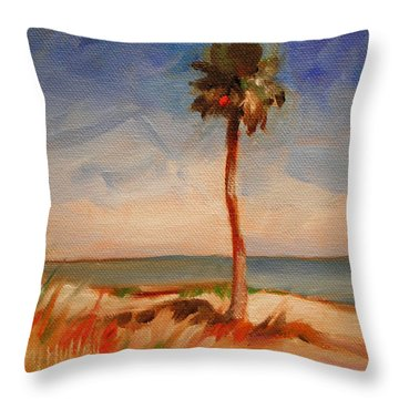 Beach Palm Tree Throw Pillow by Mary Hubley