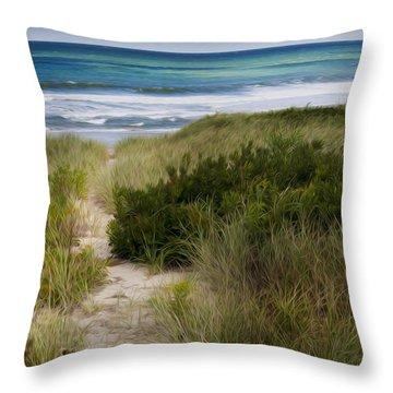 Beach Path Throw Pillow by Bill Wakeley