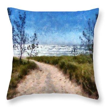 Beach Path Throw Pillow by Michelle Calkins