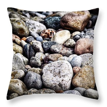 Pebbles On Beach Throw Pillow