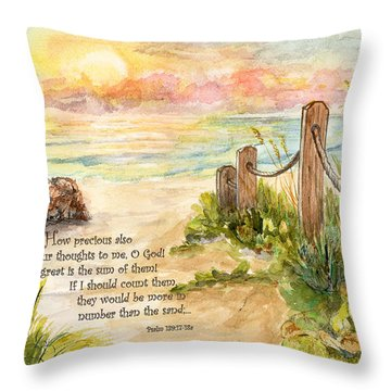 Beach Post Sunrise Psalm 139 Throw Pillow