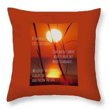 Beach Quote Throw Pillow by Nikki McInnes