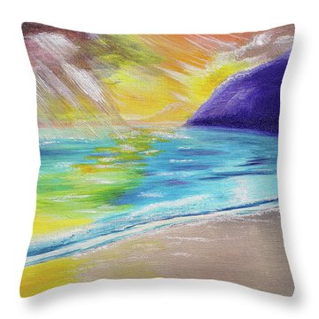 Throw Pillow featuring the painting Beach Reflection by Thomas J Herring