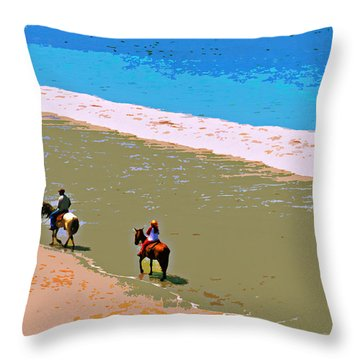 Beach Riders Throw Pillow