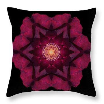 Throw Pillow featuring the photograph Beach Rose I Flower Mandala by David J Bookbinder
