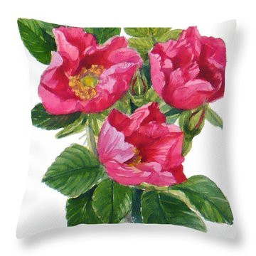 Beach Roses -  Rosa Rugosa Throw Pillow