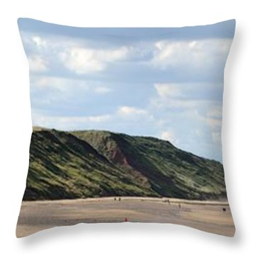 Beach - Saltburn Hills - Uk Throw Pillow by Scott Lyons