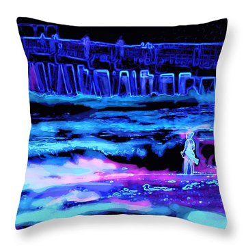 Beach Scene At Night Throw Pillow