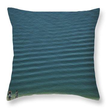 Beach Scene - Four People On Beach Throw Pillow by Andy Mars