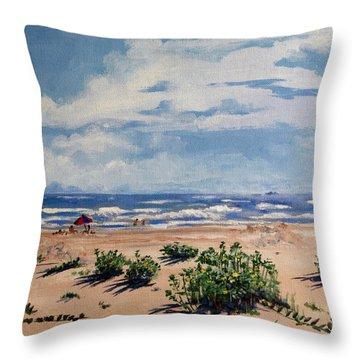 Beach Scene On Galveston Island Throw Pillow