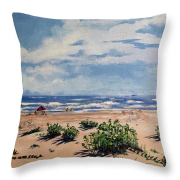 Beach Scene On Galveston Island Throw Pillow