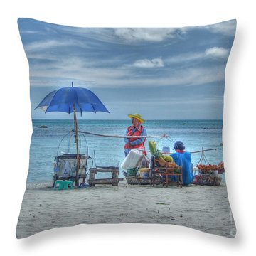 Beach Sellers Throw Pillow by Michelle Meenawong