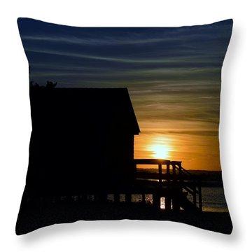 Beach Shack Silhouette Throw Pillow