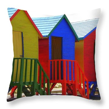 Throw Pillow featuring the photograph Beach Shacks by Ramona Johnston