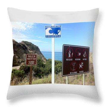 Beach Signs San Clemente Throw Pillow