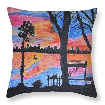 Beach Silhouette Throw Pillow by Sonali Gangane