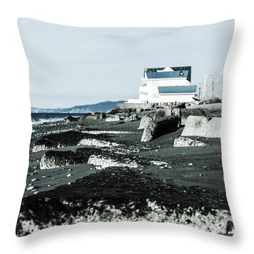 Beach Slabs Throw Pillow by Arlene Sundby