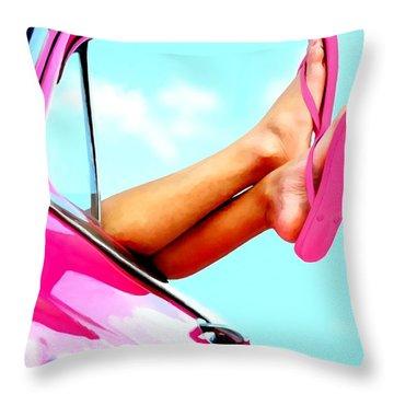 Beach Slippers - Summer Time Serie Throw Pillow