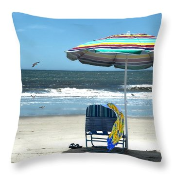 Beach Solitude Throw Pillow by Sandi OReilly