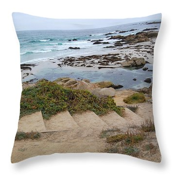 Throw Pillow featuring the photograph Descending To The Beach Monterey by Debra Thompson