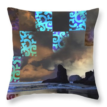 Beach Stamped Throw Pillow by Adria Trail