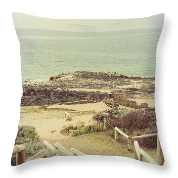 Beach Steps Throw Pillow by Elaine Teague