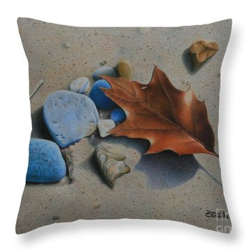 Throw Pillow featuring the painting Beach Still Life II by Pamela Clements