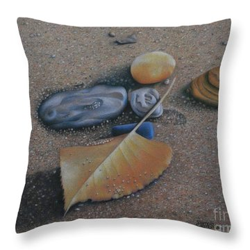 Throw Pillow featuring the painting Beach Still Life IIi by Pamela Clements