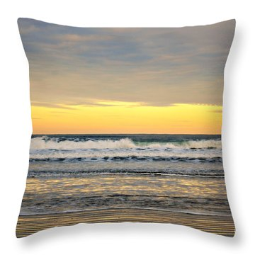 Throw Pillow featuring the photograph Sunrise At Agate Beach by Mindy Bench