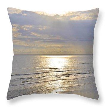 Beach Sunrise Throw Pillow by Carol  Bradley