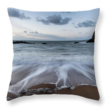 Beach Sunrise Landscape With Long Exposure Waves Movement Throw Pillow by Matthew Gibson