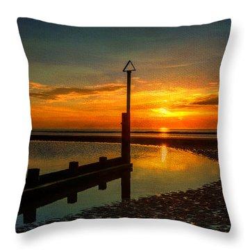 Beach Sunset Throw Pillow by Adrian Evans