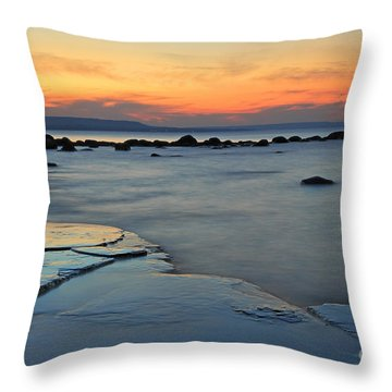 Beach Sunset Throw Pillow by Charline Xia