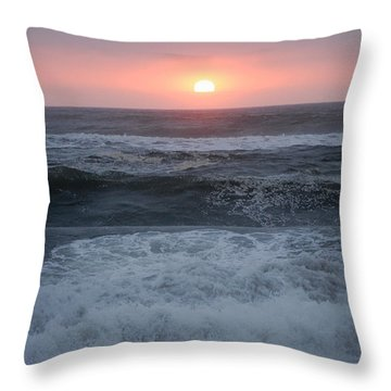 Beach Sunset Throw Pillow by Holly Blunkall