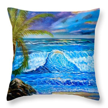 Throw Pillow featuring the painting Beach Sunset In Hawaii by Jenny Lee