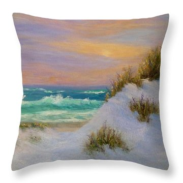 Beach Sunset Paintings Throw Pillow