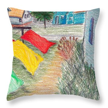 Beach Town Throw Pillow