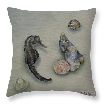 Beach Treasures Throw Pillow by Jindra Noewi