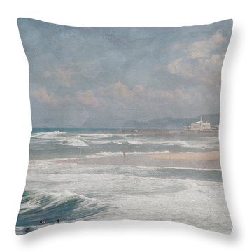 Beach Triptych 1 Throw Pillow by Linda Lees