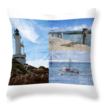 Beach Triptych 2 Throw Pillow by Linda Lees