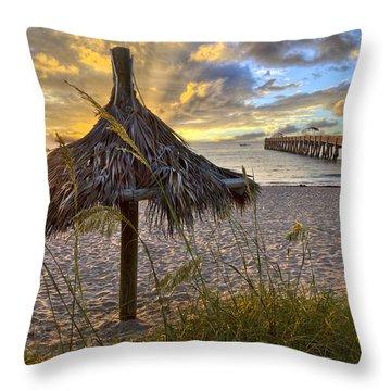 Beach Umbrella Throw Pillow by Debra and Dave Vanderlaan