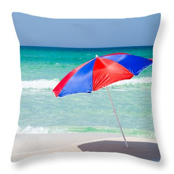 Beach Umbrella Throw Pillow by Shelby  Young