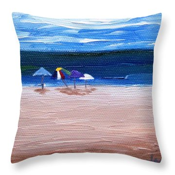 Throw Pillow featuring the painting Beach Umbrellas by Jamie Frier