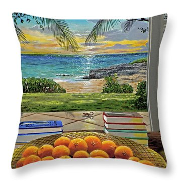 Beach View Throw Pillow by Carey Chen