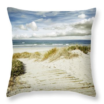 Beach View Throw Pillow by Les Cunliffe