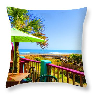 Beach View Of The Ocean By Jan Marvin Studios Throw Pillow