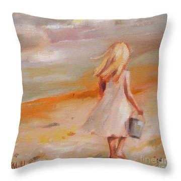 Beach Walk Girl Throw Pillow by Mary Hubley
